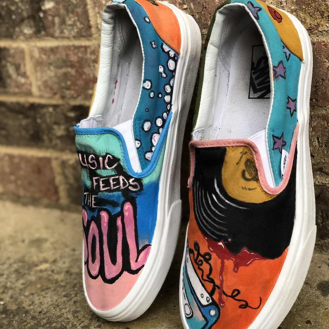 e48c7ce881c2c These music inspired Vans were custom hand painted... - Depop