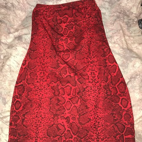 735293b2867 Red snakeskin bandeau dress size 8 never worn tag still on - Depop