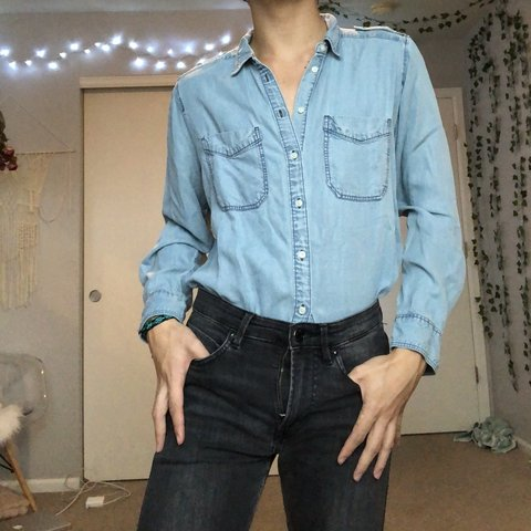 6eeda637b0 Western Denim Button up Shirt! Super soft!! Size L (Express - Depop