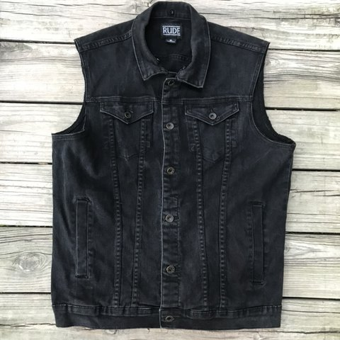 dc58d4aad99d16 Hot Topic XXX Rude Men s Vest-Black Denim Deconstructed Punk - Depop