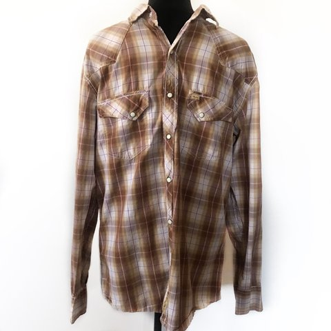 490a71fa @minnieandnance. 2 months ago. Brownsville, United States. Vintage Larry  Mahan Mens Shirt Western Logo Plaid Pearl Snap ...