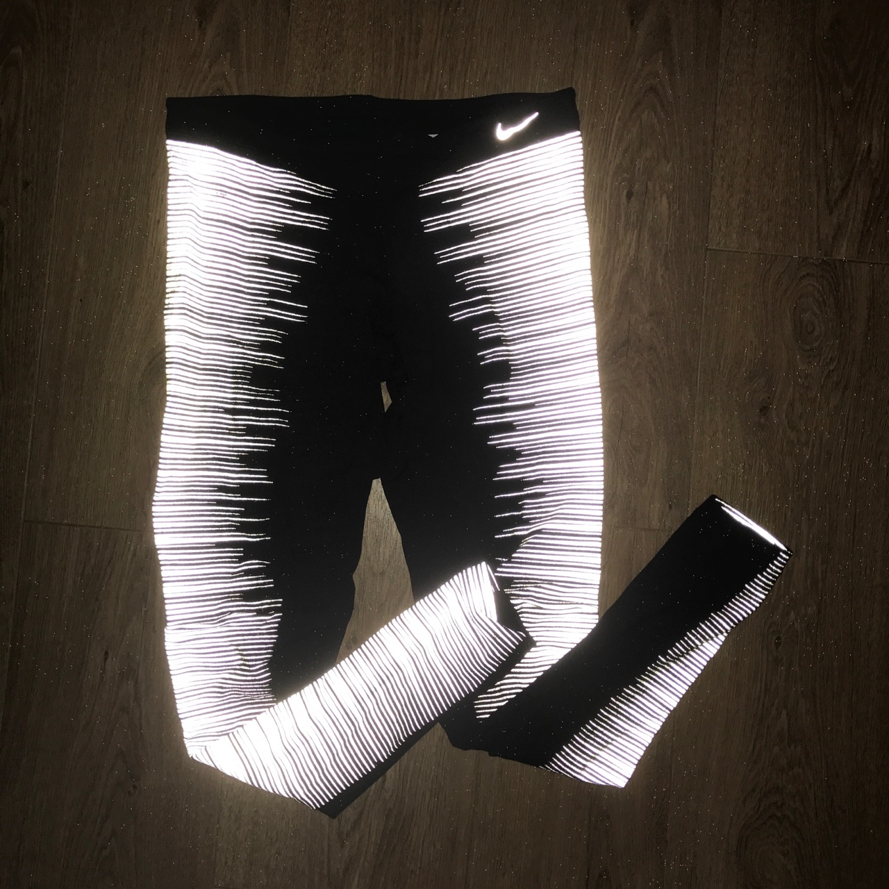 picked up new release lace up in NIKE GLOW IN THE DARK LEGGINGS! size S (8/10)... - Depop