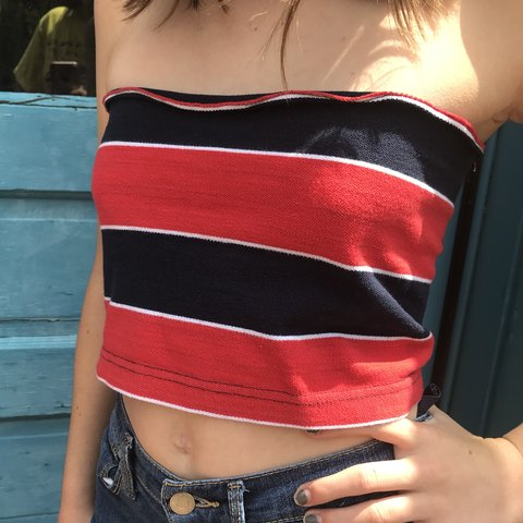 76a9b1c0c492ca  rubybix. 5 months ago. United States. 🖤reworked stripe tube top 🖤tommy  hilfiger look