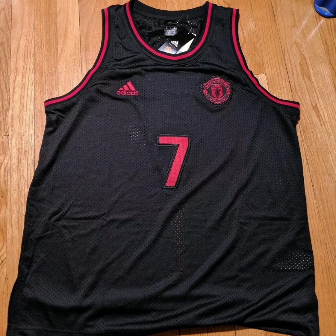 uk availability e8365 8cd97 Adidas Manchester United Black Basketball Jersey #7 - Depop