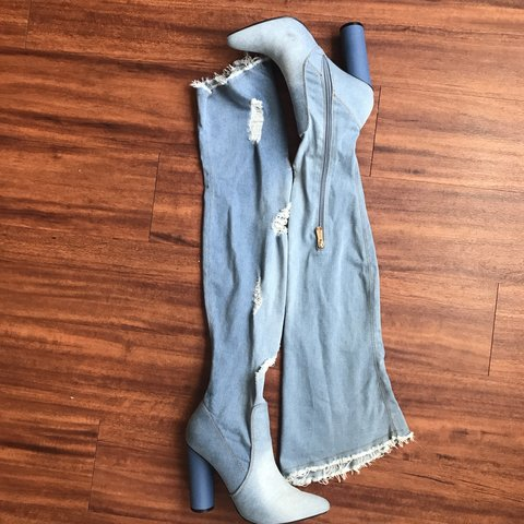 a1fedcd47 Light Denim Distressed Thigh High Boots with 4