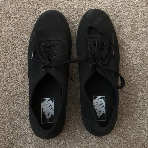 c9e8388e5375d6 PLEASE READ BIO BEFORE BUYING. All black thin sole Vans 6. - Depop