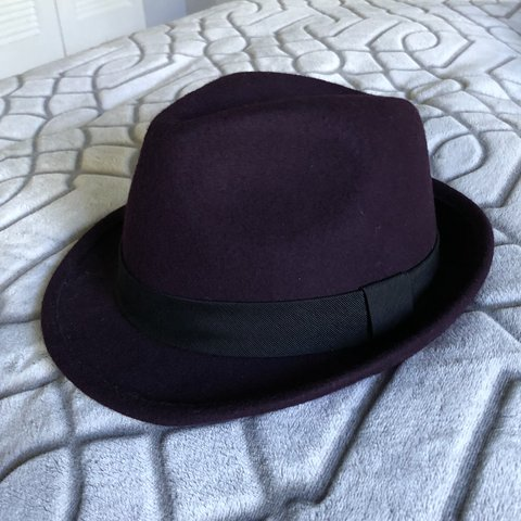 45dd5afba8f Purple felt wool fedora. Bought in NYC. Grace Hats. Used - Depop