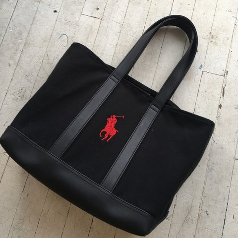 eb5253e6589 Ralph Lauren Polo tote bag Leather + canvas build Great on - Depop