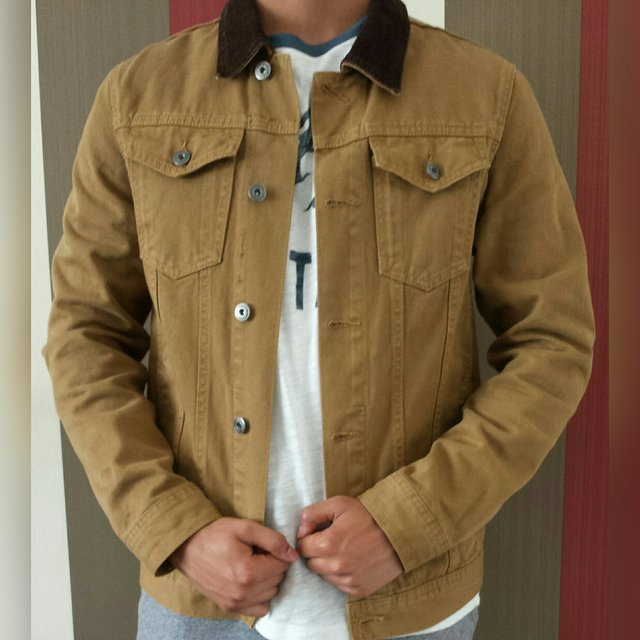 Burton Men S Denim Jacket Size Small Colour Light Brown A Depop