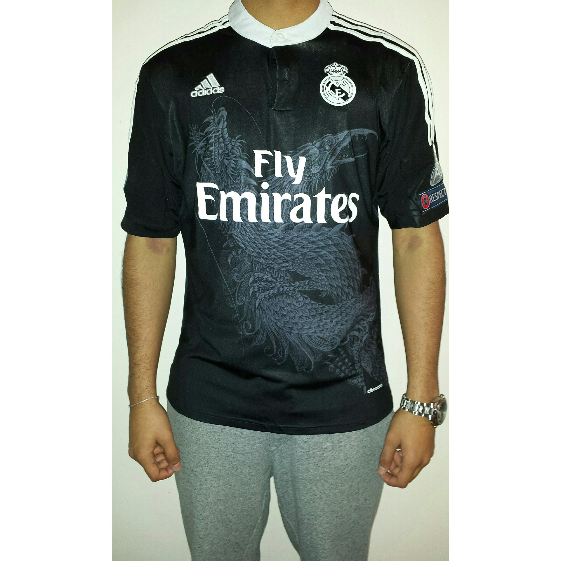 superior quality f52c1 15c82 Real Madrid 14-15 third kit. New with tags. Black... - Depop