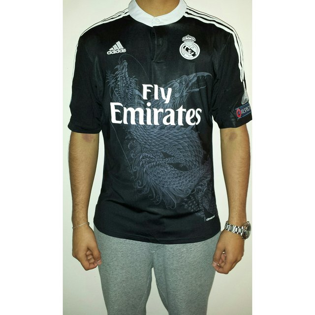 8b1427179 Real Madrid 14-15 third kit. New with tags. Black kit with a - Depop