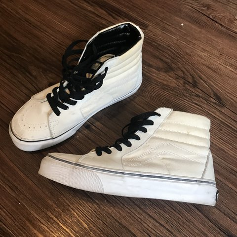 95be935a0a689f Vans Off The Wall high top skateboard canvas and leather but - Depop