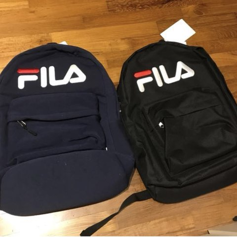Black FILA backpack!! Black bag only one left in stock white - Depop