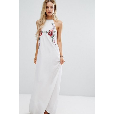 ec364c21c082 Boohoo Embroidered White Maxi Dress. Size 8. Worn once. away - Depop