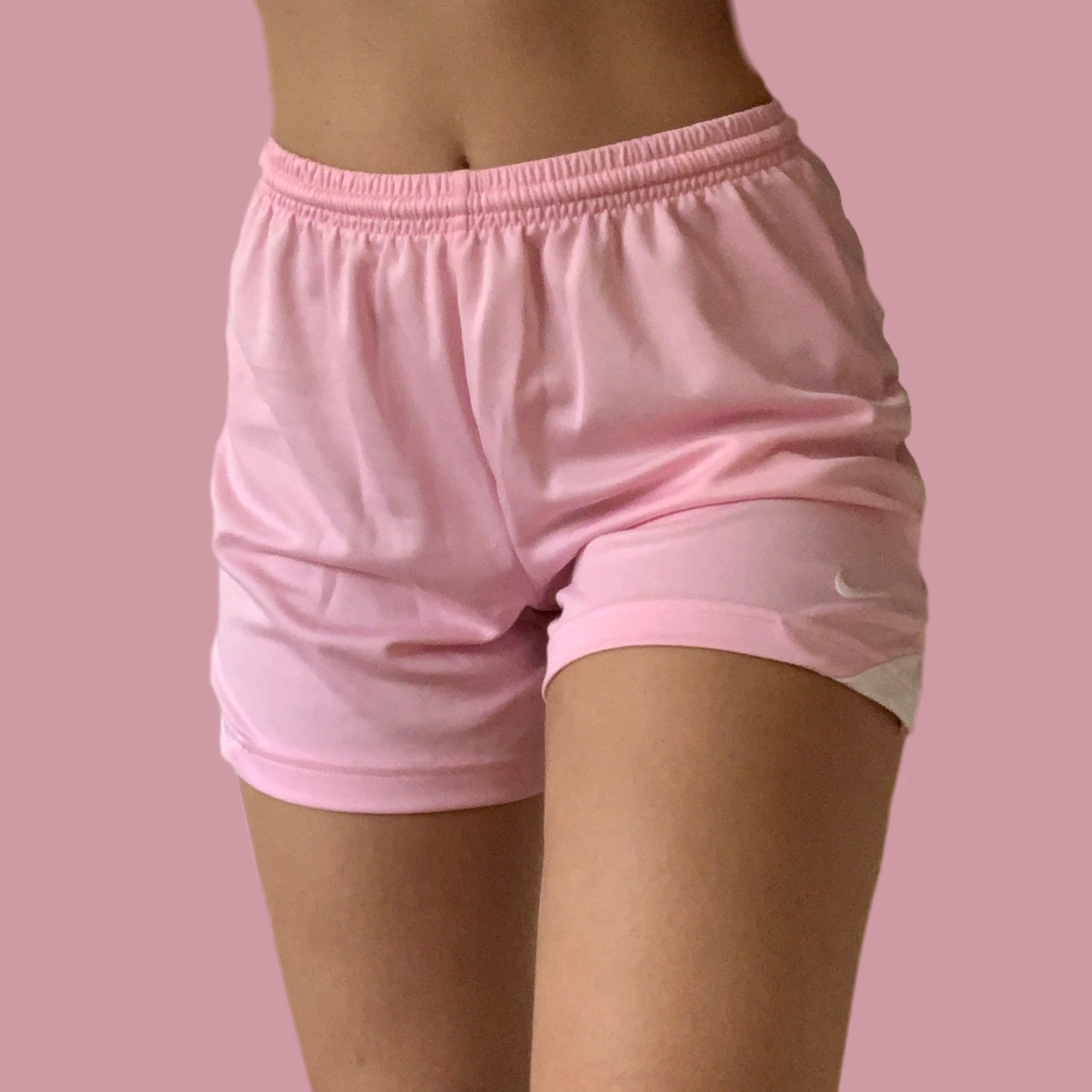 Baby pink nike shorts ! Super cute and