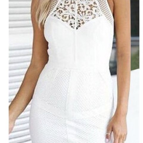 05b43bcd361a Beautiful White Lace Mini Dress with a Mesh / Netted Cotton - Depop