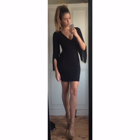 b156619e144 BRAND NEW WITH TAGS ✨ZARA BLACK BODYCON MINI DRESS WITH ✨ I - Depop