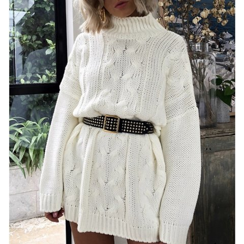 161f4c44157 Laura Jade Stone oversized cream cable knit jumper dress! in - Depop