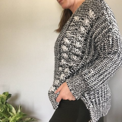 Chloe K oversized chunky knitted sweater Black and white in - Depop 51ab24d60