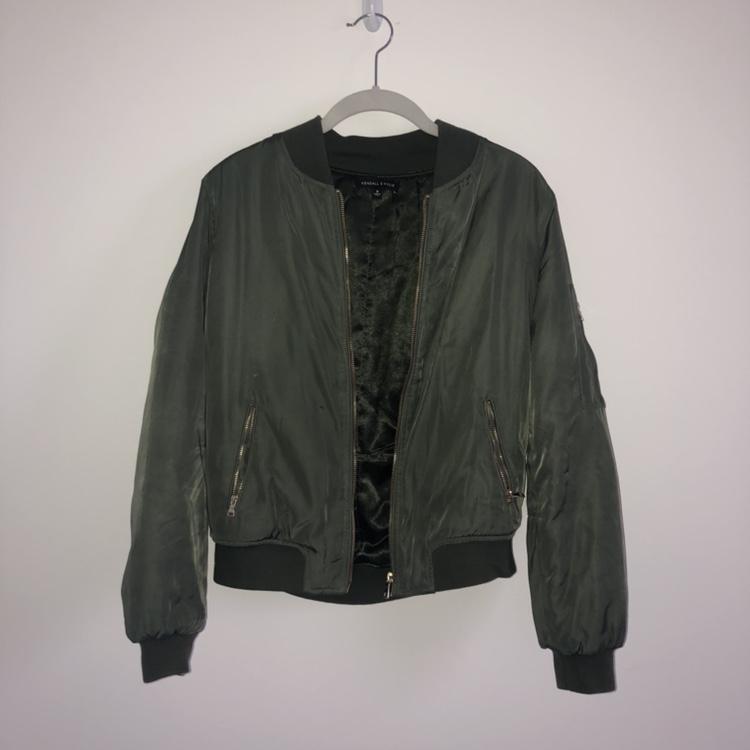Adidas bomber jacket Army green Size medium Worn a Depop