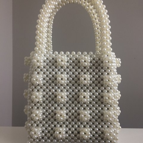 white pearl beaded bag. Perfect dupe for Shrimps beaded a a - Depop