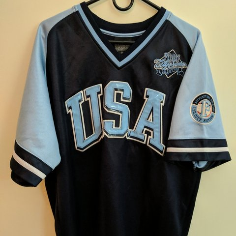 Vintage Baseball Depop Color Blue - Light Dark Jersey Fubu