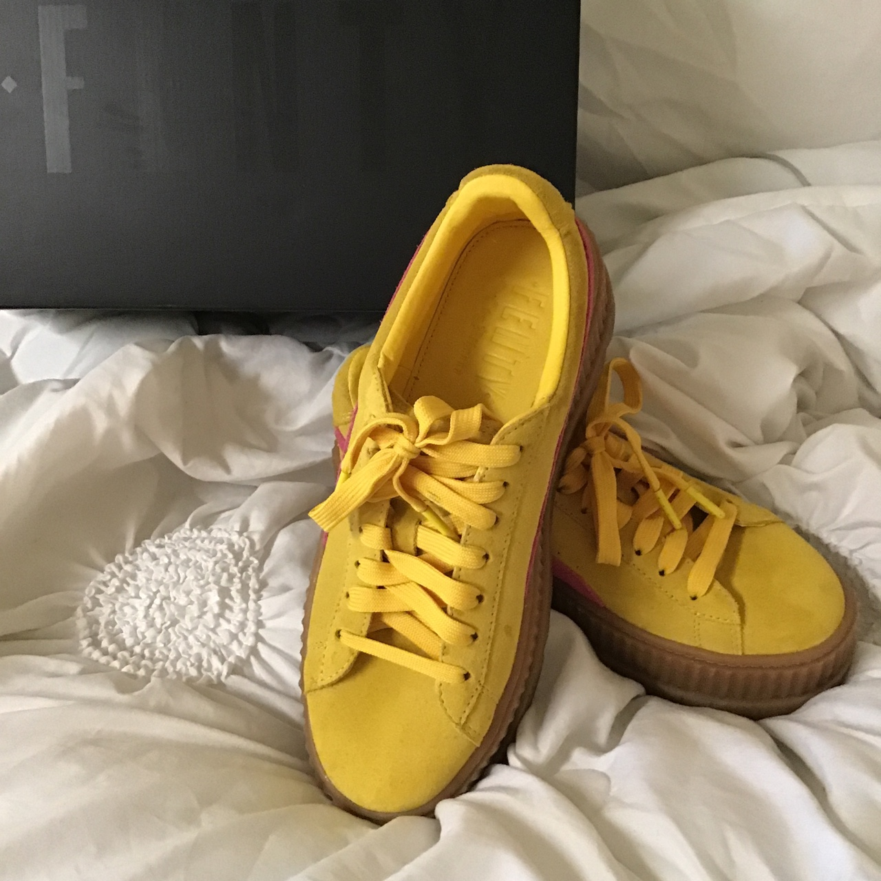 big sale adbab 2b669 Hi lovely!!! Yellow Rihanna Fenty Puma Creepers.... - Depop