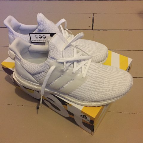 a287c74537d0 Adidas ultra boost 3.0 triple white size uk 9.5 brand new in - Depop