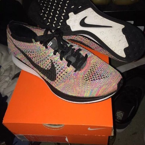 47190e6067ac Nike Flyknit Racers multicolor colorway first black 2015 - Depop
