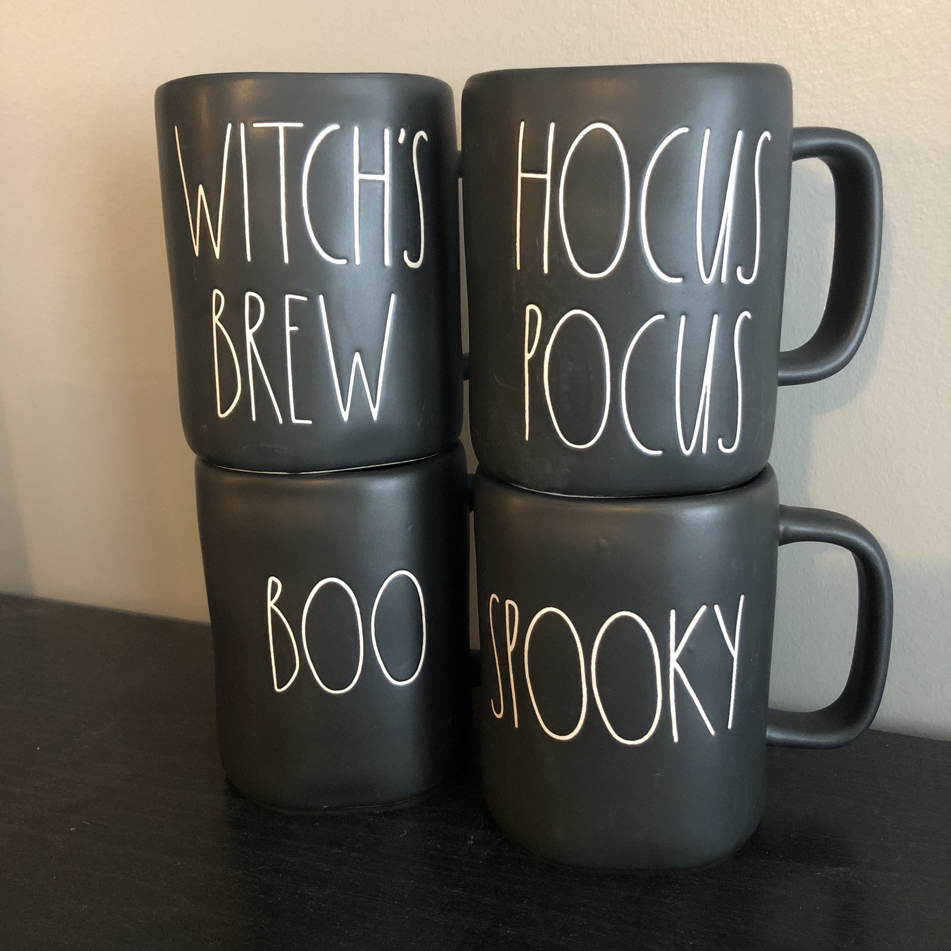 Rae Dunn Black Halloween Mugs This Price Includes 4 Depop