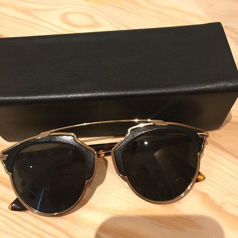 ddf0a8e1106a2 Authentic Dior SoReal L Sunglasses black leather - gold - Depop