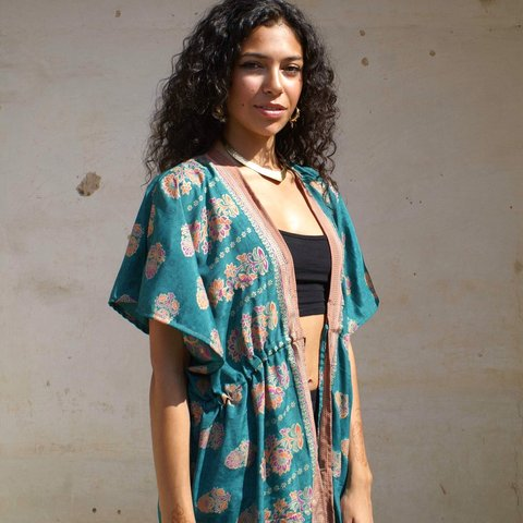 0b96a223c @franchi89. 3 months ago. London, United Kingdom. Full length teal printed silk  kimono made from recycled Indian sari. All my kimonos ...
