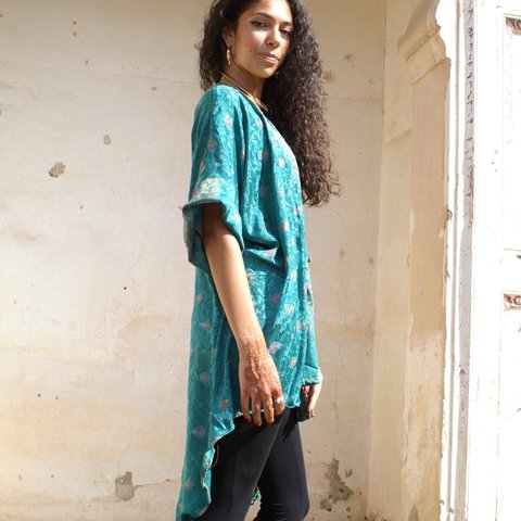 7555cb475 @franchi89. last month. London, United Kingdom. Mid length teal printed silk  kimono made from recycled Indian sari. All my kimonos ...