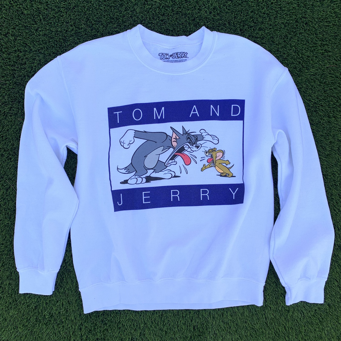 White Tom and Jerry sweatshirt! Really good quality    - Depop