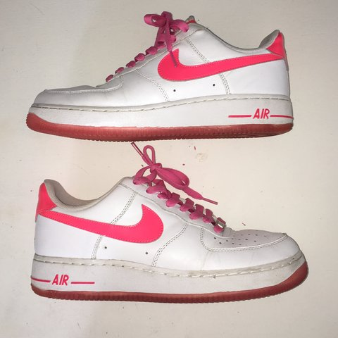 Nike Air Force 1 Pink X White With Neon Ish Pink Depop