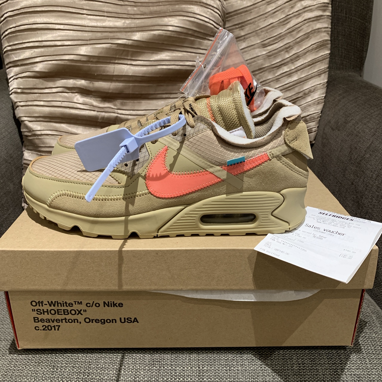 Off White X Nike Air Max 90 Desert Ore UK 8 £420 Depop