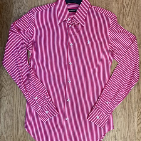 6c4cd1a1a56df Ralph Lauren Pink Candy Stripe Shirt!💗 Sport size 2, would - Depop