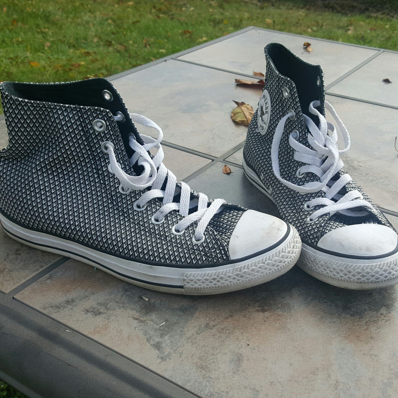 Black and white patterned Converse All☆Star s. Cute and them - Depop f0c49bd5e60d