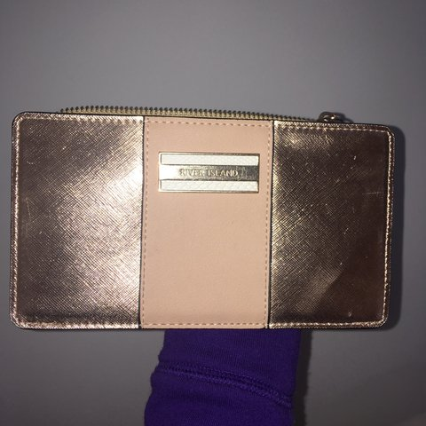 9533078c0bf river island purse, gold/rose gold, zip coin for cards as - - Depop