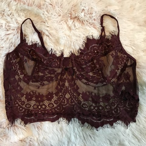 """1b73c9dae03 Size large """"Anastasia Lace Top"""" in burgundy Originally from - Depop"""