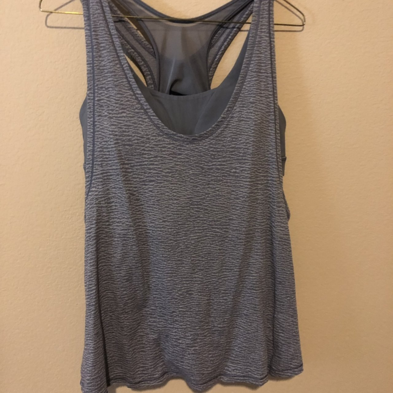 0fbec70d83 lululemon light gray tank top with attached sports bra  ) is - Depop