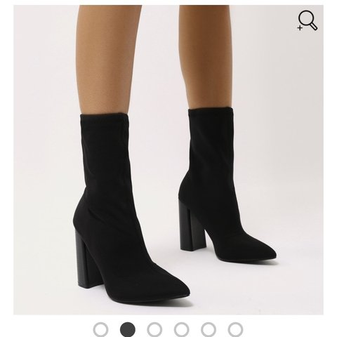 d43330315447 Public Desire LIBBY FLARED HEEL SOCK FIT ANKLE BOOTS IN new - Depop