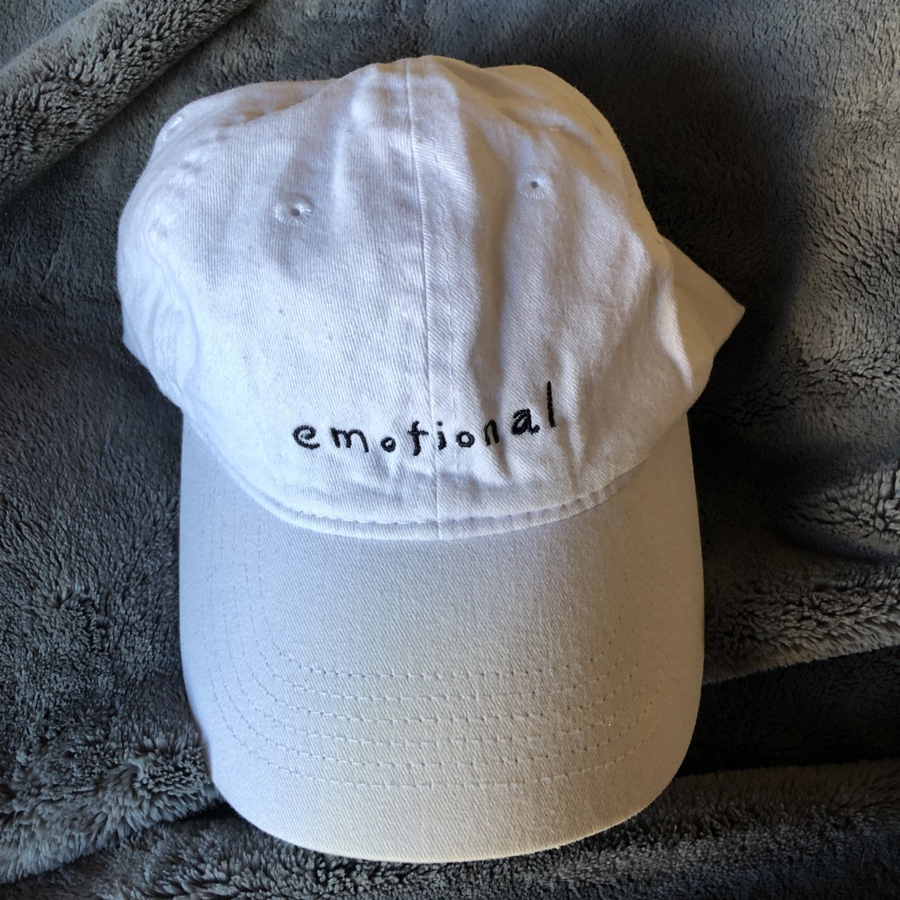 "a89fc907ac8 ""emotional"" baseball hat white and black."