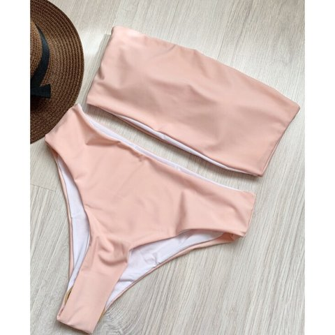 aeae474540 @prettykitten. 9 days ago. United Kingdom. 💘 Baby pink high waisted  strapless bandeau bikini ...