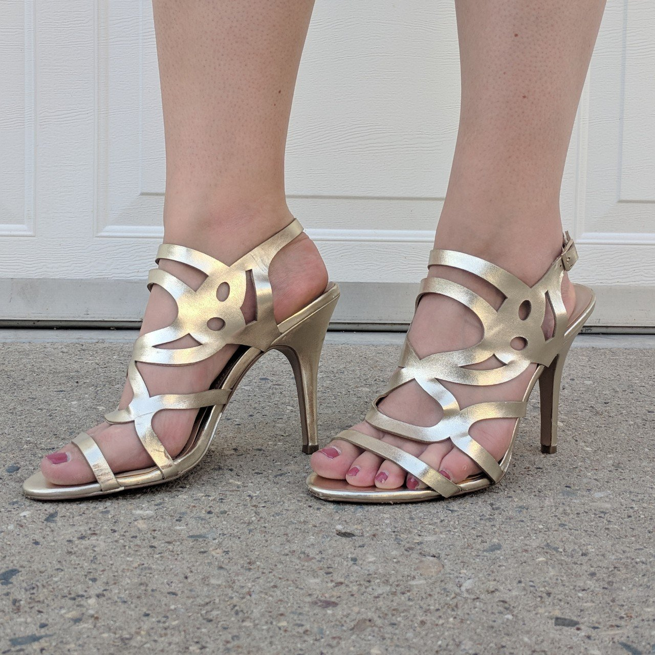 10f5e5498 Gold high heeled sandals. Very cute for a night out! In very - Depop
