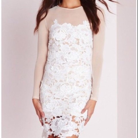 07bc579336a Missguided white floral lace nude mesh Dress SIZE UK   BRAND - Depop
