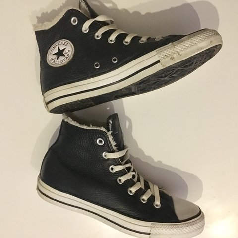75d80fa57b36 High top Black Leather Converse with Soft White Textile UK a - Depop