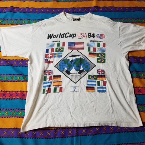 1648a9f67 World Cup USA 94 Soccer Vintage T-shirt Single Stitch Size - Depop