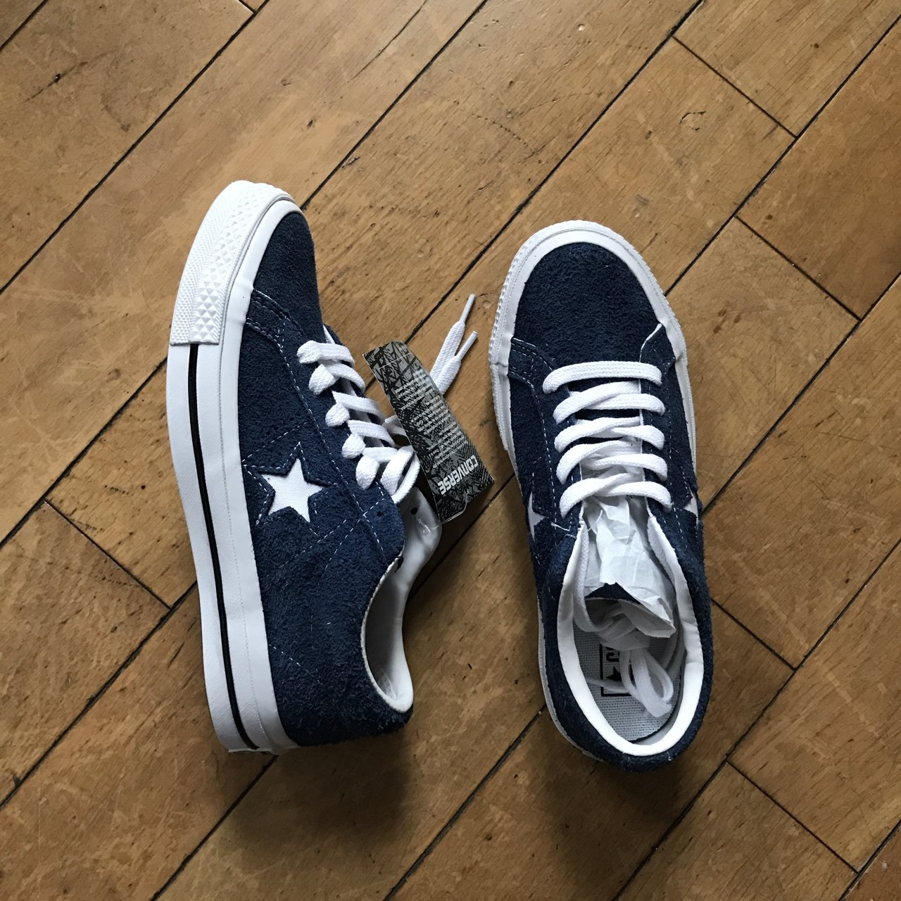 Brand New One Star converse size 5 women s navy white suede - Depop b0f9a0dc41