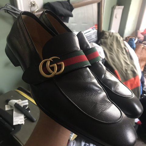 1342152ed069 Gucci Leather Loafer with GG Web Sz. 12 Worn twice Black - Depop